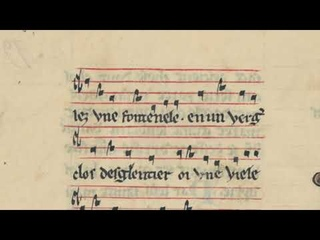 """""""Chansons De Trouvères"""" with lyrics and musical notation"""