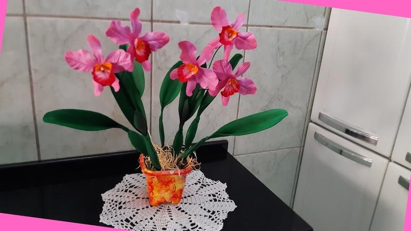 Lindíssima orquidea conjugada Cathileia labiata em eva rápida e fácil para dia de finados