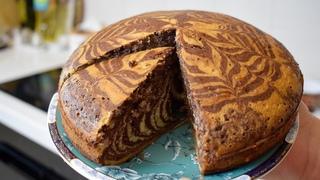 Пирог Зебра на КЕФИРЕ / Секреты вкусного кекса с КАКАО 🍫