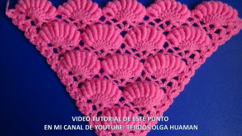 Chal triangular tejido a crochet paso a paso en punto ABANICOS DE ROCOCO paso a paso