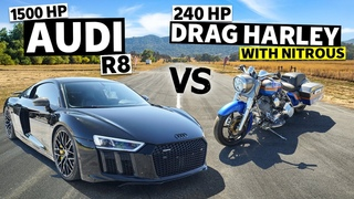 1,500hp Audi R8 Races a 240hp Harley Drag Bike… With Nitrous! // This vs. That