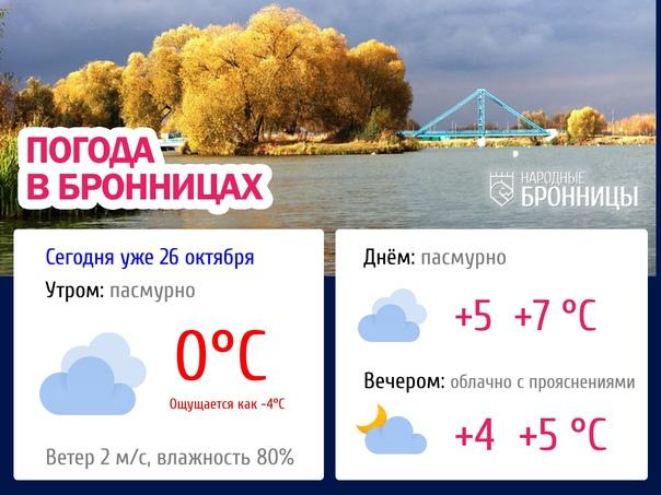 🍃 Прогноз погоды в Бронницах на 26 октября☁ Сейчас...