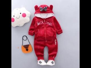 Комплект детской одежды с капюшоном зимний модный для детей утепленная одежда маленьких девочек