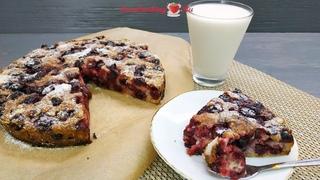 """Насыпной вишнёвый пирог """"Три стакана"""" - даже тесто замешивать не надо   Cherry pie   LoveCookingRu"""