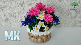Небольшая композиция из бисера Полевые цветы клевер, васильки, почти ромашки Подробный\Master diy.