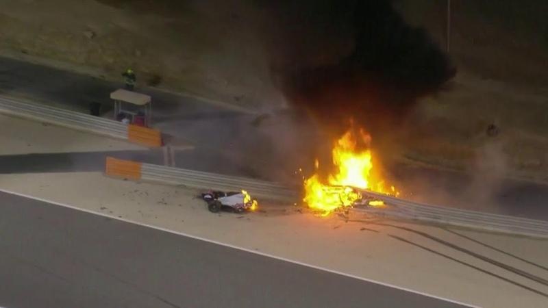 Гонщик Ромен Грожан чуть не сгорел заживо в аварии которая случилась на Гран при Бахрейна